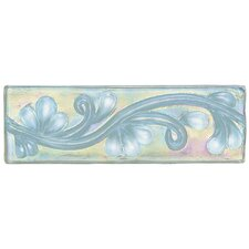 "Cristallo Glass 8"" x 3"" Decorative Vine Chair Rail Tile Trim in Aquamarine"