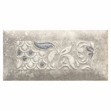 "Del Monoco 6-1/2"" x 3-1/4"" Glazed Decorative Tile in Leona Grigio"