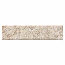 "Del Monoco 13"" x 3"" Glazed Decorative Border in Carmina Beige"