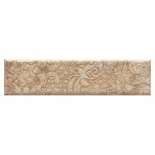 "Del Monoco 13"" x 3"" Glazed Decorative Border in Adriana Rosso"