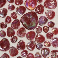"Glass Pebbles 10"" x 10"" Decorative Accent in Scarlet Iridescent"