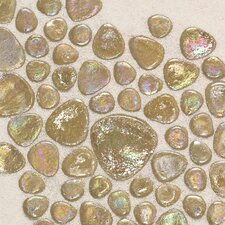 "Glass Pebbles 10"" x 10"" Decorative Accent in Wheat Iridescent"