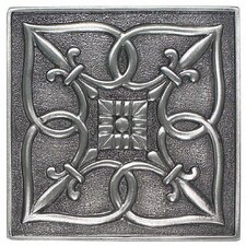 "Massalia 4"" x 4"" Decorative Fleur De Lis Accent in Pewter"