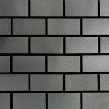 "Urban Metals 12"" x 12"" Brick Joint Decorative Accent in Stainless"