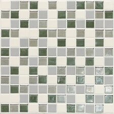 "Keystones Blends 1"" x 1"" Porcelain with Oceanside Glass Unpolished Mosaic in Caribbean Palm"