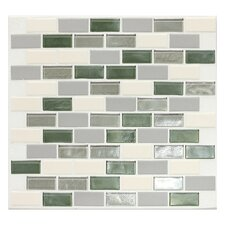 "Keystones Blends 2"" x 1"" Brick - Joint Porcelain with Oceanside Glass Mosaic Tile in Caribbean Palm"