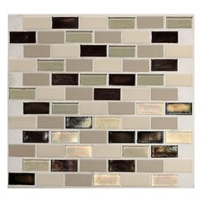 "Keystones Blends 12"" x 12"" Brick - Joint Porcelain with Oceanside Glass Mosaic Tile in Sunset Cove"