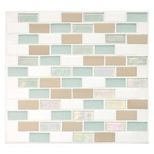 "Keystones Blends 2"" x 1"" Ceramic with Oceanside Glass Unpolished Mosaic in Trade Wind"