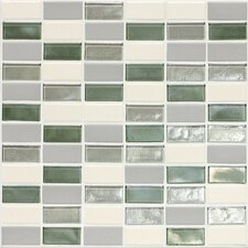 "Keystones Blends 2"" x 1"" Porcelain with Oceanside Glass Mosaic Tile in Caribbean Palm"