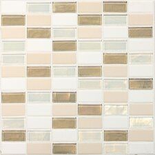 "Keystones Blends 2"" x 1"" Ceramic with Oceanside Glass Unpolished Mosaic in Coconut Beach"