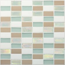 "Coastal Keystones 12"" x 12"" Straight - Joint Porcelain with Oceanside Glass Mosaic Tile in Trade Wind"