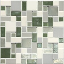 Keystones Blends Random Sized Block Ceramic with Oceanside Glass Mosaic in Caribbean Palm
