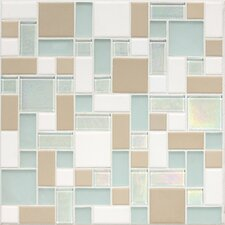Keystones Blends Random Sized Block Porcelain with Oceanside Glass Mosaic Tile in Trade Wind