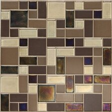 "Keystones Blends 12"" x 12"" Block Random Porcelain with Oceanside Glass Mosaic Tile in Treasure Island"