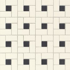 "Keystones Blends Plain 2"" x 1"" Ceramic Unpolished Mosaic in Biscuit with Black"