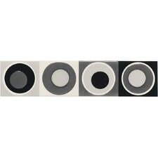 "Modern Dimensions 8-1/2"" x 2"" Concentric Circles Decorative Accent in Multi-Black"
