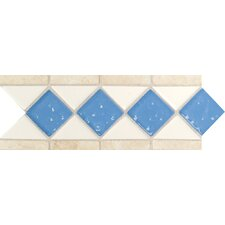 "Fashion Accents 11"" x 4"" Decorative Listello in Arctic White/Lagoon/Travertine"