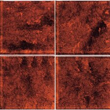 "Molten Glass 4 1/4"" x 4 1/4"" Multi-Colored Wall Tile in Volcano"