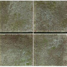 "Molten Glass 4 1/4"" x 4 1/4"" Multi-Colored Wall Tile in Moss"