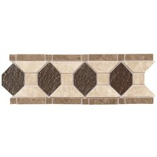 "Metal Ages 12"" x 4"" Roman Shield Glazed Decorative Accent Strip in Sonora Stone/Playa Blanca and Arroya Bluff"