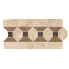 "Metal Ages 12"" x 6"" Barbicon Glazed Decorative Accent Strip in Sonora Stone/Playa Blanca and Arroya Bluff"