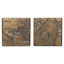 "Metal Signatures Map Tumbled Stone 4"" x 4"" Decorative Tile in Aged Bronze (Set of 2)"