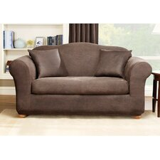 Stretch Leather Two Piece Sofa Slipcover