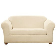Stretch Pinstripe Loveseat Slipcover