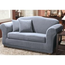 Stretch Pinstripe Two Piece Sofa Slipcover