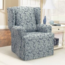 <strong>Sure-Fit</strong> Scroll Classic Wing Chair T Cushion Skirted Slipcover