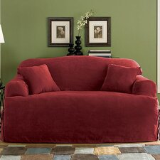 Soft Suede Loveseat T-Cushion Slipcover