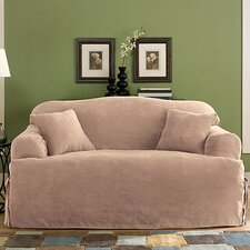 <strong>Sure-Fit</strong> Soft Suede Sofa T- Cushion Skirted Slipcover