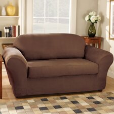 <strong>Sure-Fit</strong> Stretch Suede Separate Seat Loveseat Slipcover