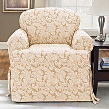 <strong>Sure-Fit</strong> Scroll Classic Club Chair T Cushion Skirted Slipcover