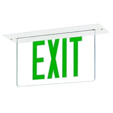 Single Edge Recessed LED Exit Sign Light in Green