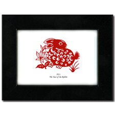 "<strong>Oriental Design Gallery</strong> 5"" x 7"" Black Satin Frame with Year of the Rabbit Print 01H"
