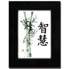 "<strong>Oriental Design Gallery</strong> 5"" x 7"" Black Satin Picture Frame with Wisdom (Bamboo) Calligraphy Print"