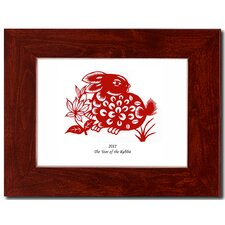 "<strong>Oriental Design Gallery</strong> 5"" x 7"" Red Mahognany Frame with Year of the Rabbit Print 01H"