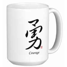 Chinese Stylish Calligraphy Courage 15 oz. Coffee / Tea Mug (Set of 4)