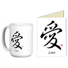 Chinese Stylish Calligraphy Love 15 oz. Coffee / Tea Mug and Note Card