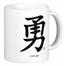 Chinese Traditional Calligraphy Courage 11 oz. Coffee / Tea Mug (Set of 4)