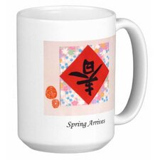 Chinese Calligraphy Spring Arrives 15 oz. Coffee / Tea Mug (Set of 4)