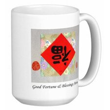 Chinese Calligraphy Good Fortune and Blessings Arrive 15 oz. Coffee / Tea Mug (Set of 4)