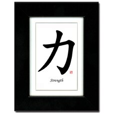 5x7 Black Satin Frame with Calligraphy and Ivory Mat - Strength