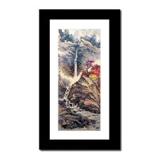 Mountain Waterfall and House by Lin Hung Tsung Framed Painting Print