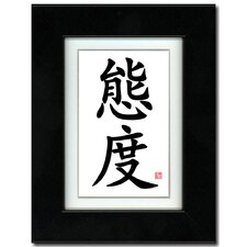 5x7 Black Satin Frame with Calligraphy and Ivory Mat - Attitude