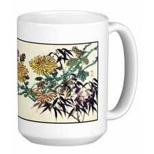 Chinese Calligraphy Art Chrysanthemum 15 oz. Coffee / Tea Mug (Set of 4)