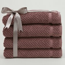Luxury Hotel & Spa Herringbone Weave 100%Turkish Cotton Hand Towel (Set of 4)