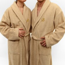 Herringbone Weave 100% Turkish Cotton Monogram Unisex Bathrobe