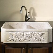 "36"" x 20"" Farmhouse Kitchen Sink with Floral Motif"